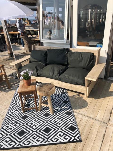 lounge set, bank van steigerhout inclusief kussens in diverse kleuren